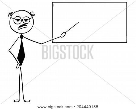 Cartoon Illustration Of Old Business Man Or Teacher Or Professor Pointing At Empty Sign