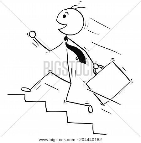 Cartoon Illustration Of Smiling Business Man Running Upstairs