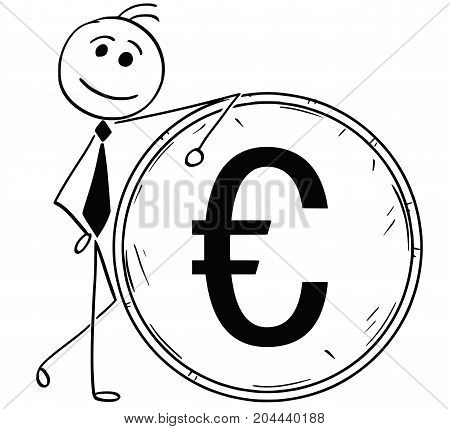 Cartoon Illustration Of Smiling Business Man Leaning On Large Euro Coin