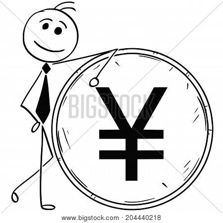 Cartoon Illustration Of Smiling Business Man Leaning On Large Yuan Yen Coin