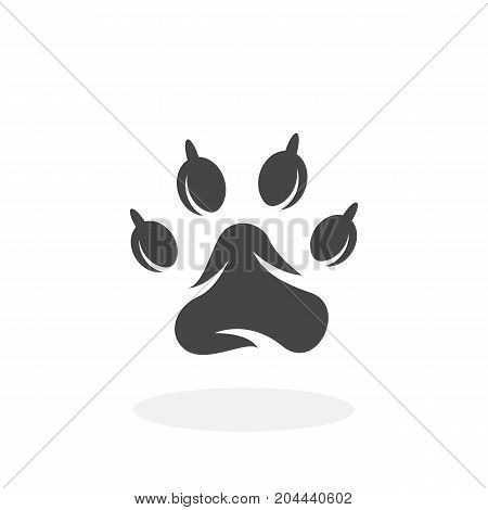 Paw print icon isolated on white background. Paw print vector logo. Flat design style. Modern vector pictogram for web graphics - stock vector