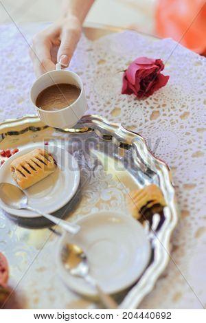 autumn wedding still life. coffee wedding morning. wedding decoration, floral arrangement