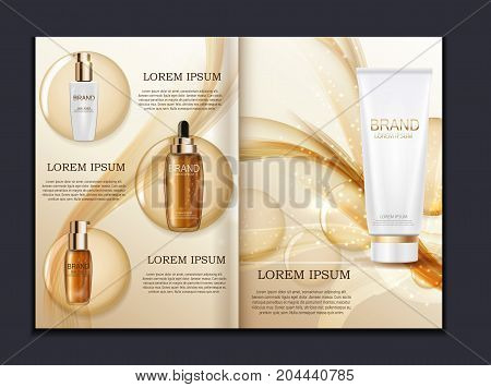 Design Cosmetics Product  Brochure Template for Ads or Magazine Background. 3D Realistic Vector Iillustration. EPS10