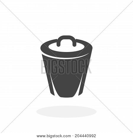 Trashcan icon isolated on white background. Trashcan vector logo. Flat design style. Modern vector pictogram for web graphics - stock vector
