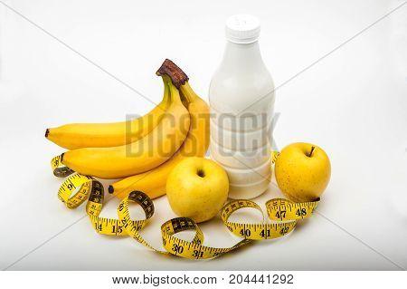 diet, fitness, sports nutrition, banana, apple, centimeter, yogurt
