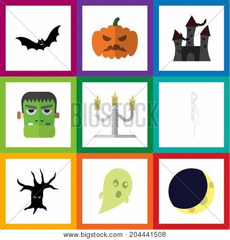 Flat Icon Halloween Set Of Terrible Halloween, Fortress, Skeleton And Other Vector Objects