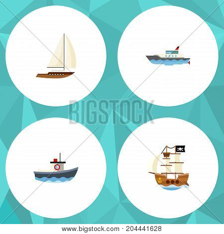 Flat Icon Boat Set Of Yacht, Transport, Vessel And Other Vector Objects