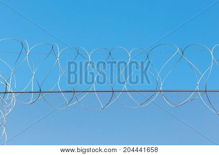Barbed Wire In The Prison In The Background Of The Blue Sky