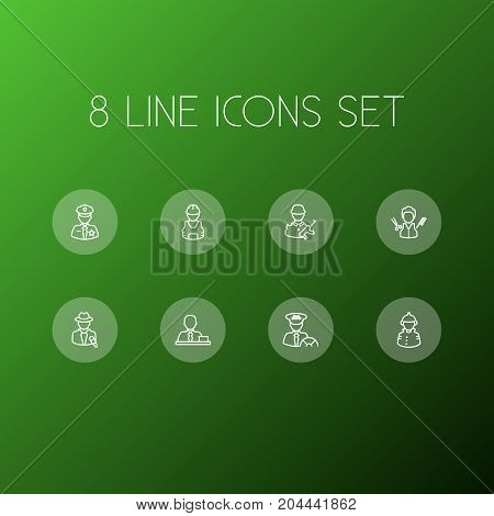 Collection Of Policeman, Barber, Worker And Other Elements.  Set Of 8 Job Outline Icons Set.