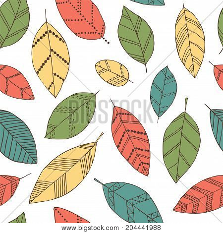 Beautiful seamless doodle pattern with vintage leaves sketch. design background greeting cards and invitations to the wedding birthday mother s day and other seasonal autumn holidays