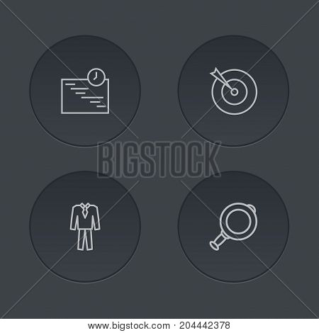 Collection Of Suit, Target, Magnifier And Other Elements.  Set Of 4 Trade Outline Icons Set.