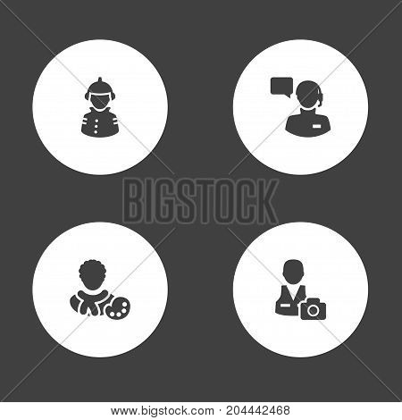Collection Of Cameraman, Actor, Producer And Other Elements.  Set Of 4 Professions Icons Set.