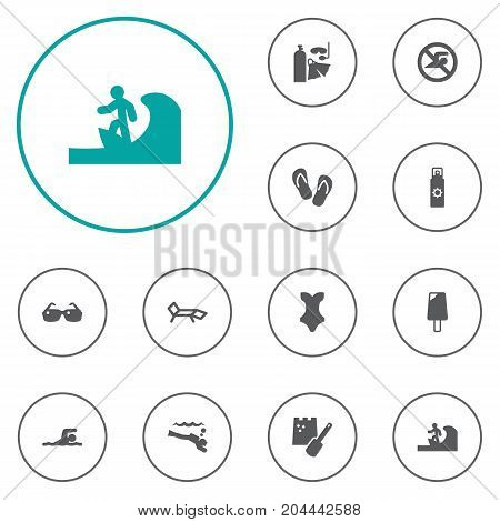 Collection Of Surfing, Diver, Flip Flop And Other Elements.  Set Of 12 Seaside Icons Set.