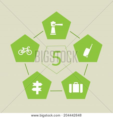 Collection Of Suitcase, Baggage, Arrows And Other Elements.  Set Of 5 Travel Icons Set.