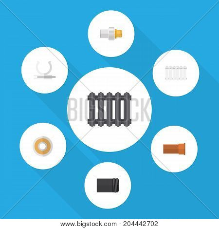 Flat Icon Sanitary Set Of Roll, Tube, Heater And Other Vector Objects