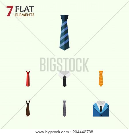 Flat Icon Clothing Set Of Cravat, Collar, Suit And Other Vector Objects