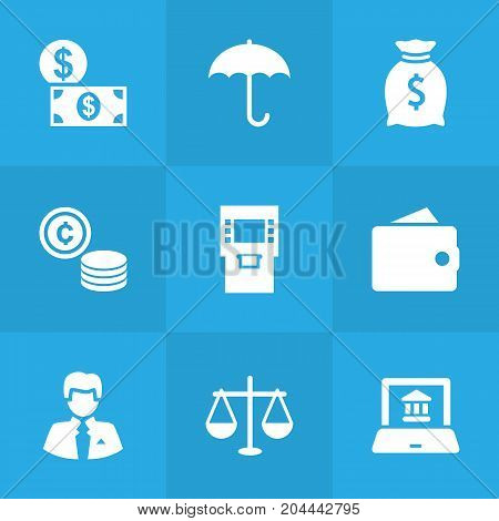 Collection Of Purse, Terminal, Balance And Other Elements.  Set Of 9 Budget Icons Set.