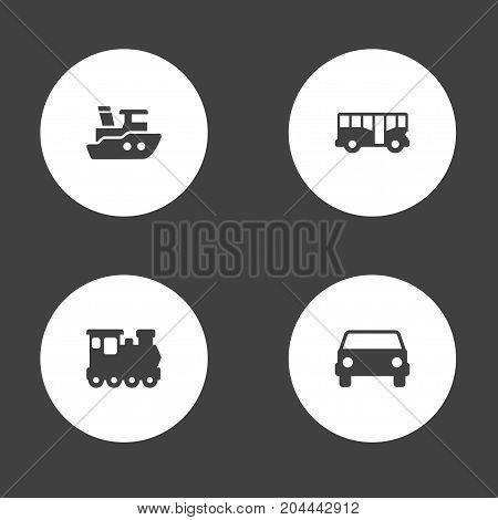 Collection Of Car, Wagon, Autobus And Other Elements.  Set Of 4 Traffic Icons Set.