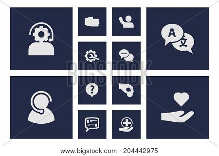 Collection Of Ball, Talk, First-Aid And Other Elements.  Set Of 12 Backing Icons Set.