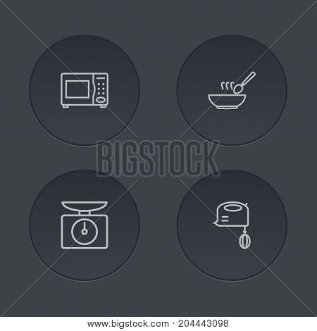 Collection Of Mixer, Microwave, Soup And Other Elements.  Set Of 4 Culinary Outline Icons Set.