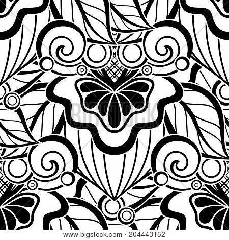 Black And White Seamless Pattern With Floral Motifs