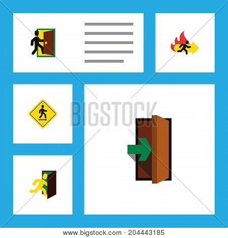Flat Icon Emergency Set Of Evacuation, Fire Exit, Direction Pointer And Other Vector Objects