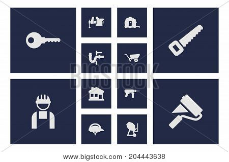 Collection Of Clamp, Pushcart, Electric Screwdriver And Other Elements.  Set Of 12 Architecture Icons Set.