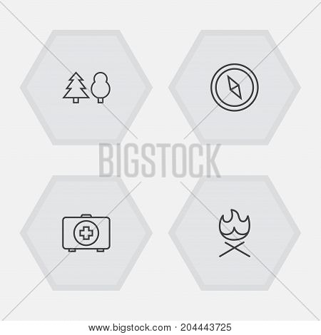 Collection Of Forest, Bonfire, Medical Kit And Other Elements.  Set Of 4 Outdoor Outline Icons Set.