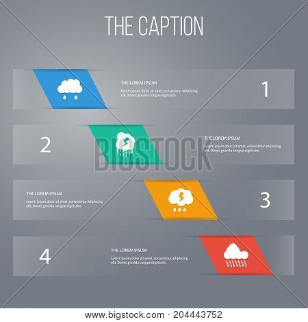 Icon Sky Set Of Rainy, Cloudy, Storm And Other Vector Objects