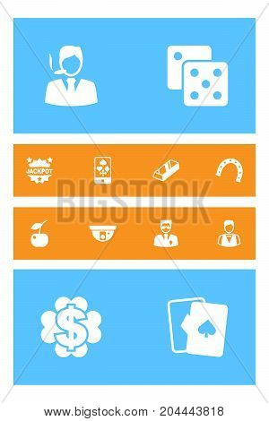 Collection Of Online Casino, Bodyguard, Playing Cards And Other Elements.  Set Of 12 Casino Icons Set.