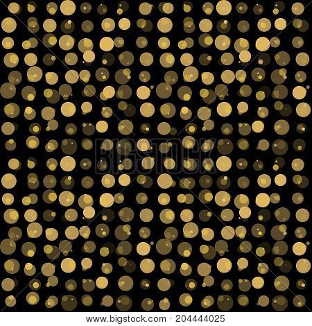 beautiful seamless pattern with gold glittering circle on black background. design for holiday greeting card and invitation of the wedding Happy Valentine's day birthday and mother's day
