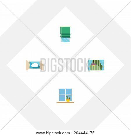 Flat Icon Glass Set Of Curtain, Flowerpot, Balcony And Other Vector Objects