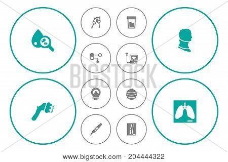 Collection Of Broken Neck, Machine, Sonogram And Other Elements.  Set Of 12 Medicine Icons Set.