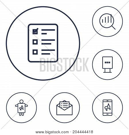 Collection Of Worker, Mobile Marketing, Stand Elements.  Set Of 6 Trade Outline Icons Set.