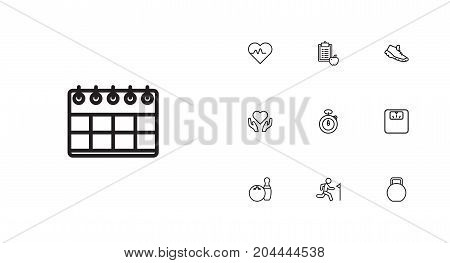Collection Of Scales, Stopwatch, Diet And Other Elements.  Set Of 10 Bodybuilding Outline Icons Set.