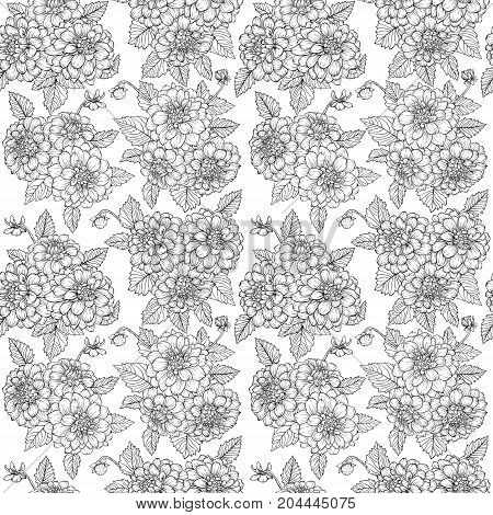 Beautiful monochrome black and white seamless pattern with dahlia bouquets. Hand-drawn contour. design greeting card and invitation of wedding birthday Valentine's Day mother's day other holiday