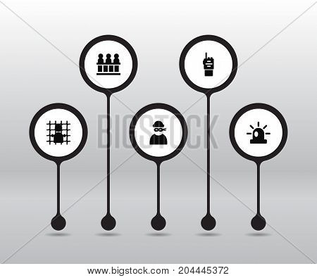 Collection Of Jail, Walkie-Talkie, Signal And Other Elements.  Set Of 5 Criminal Icons Set.