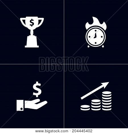 Collection Of Goblet, Money Growth, Time In Fire And Other Elements.  Set Of 4 Idea Icons Set.
