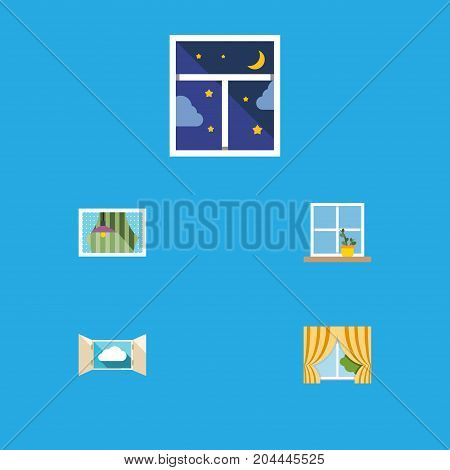 Flat Icon Window Set Of Glass Frame, Cloud, Curtain And Other Vector Objects