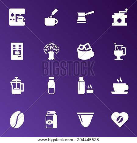 Collection Of Arabica Bean, Paper Box, French Press And Other Elements.  Set Of 16 Coffee Icons Set.