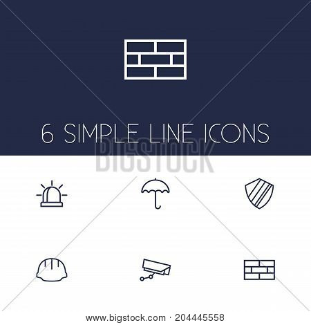 Collection Of Protection, Helmet, Alarm And Other Elements.  Set Of 6 Procuring Outline Icons Set.