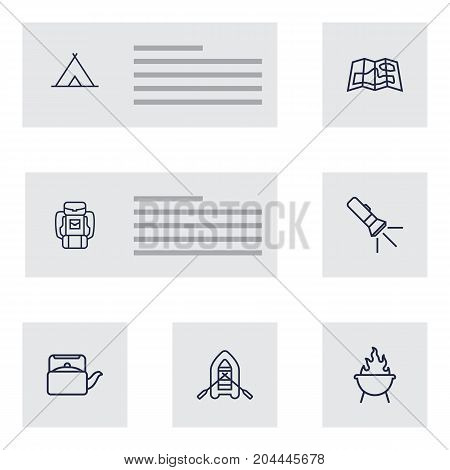 Collection Of Baggage, Rubber Boat, Teapot And Other Elements.  Set Of 7 Outdoor Outline Icons Set.