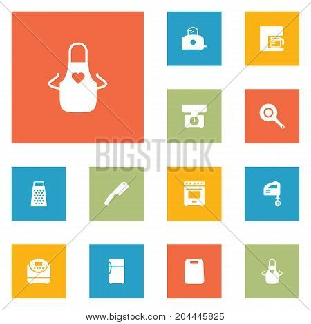 Collection Of Espresso, Furnace, Cooking And Other Elements.  Set Of 12 Kitchen Icons Set.
