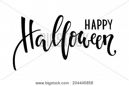 Happy halloween. Hand drawn creative calligraphy and brush pen lettering. design for holiday greeting card and invitation flyers posters banner halloween holiday