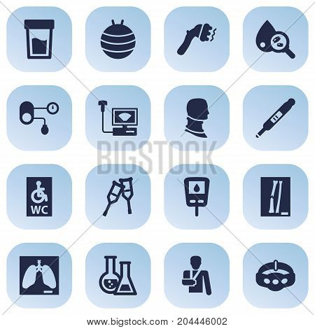 Collection Of Thorax, Slimming, Diabet And Other Elements.  Set Of 16 Medicine Icons Set.
