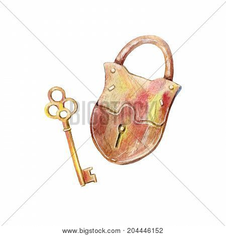 Padlock and key.Watercolor hand drawn illustration.White background.