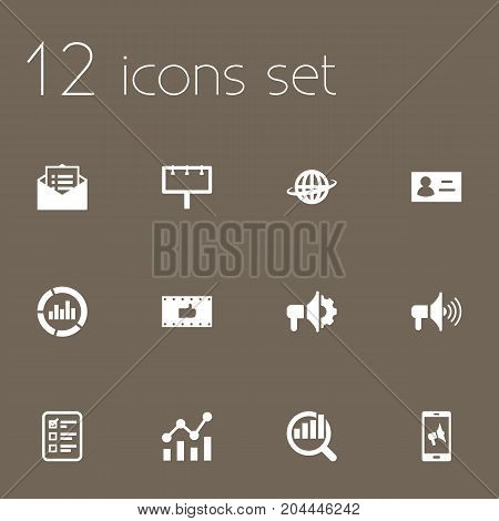 Collection Of Customer Summary, World, Loudspeaker And Other Elements.  Set Of 12 Commercial Icons Set.