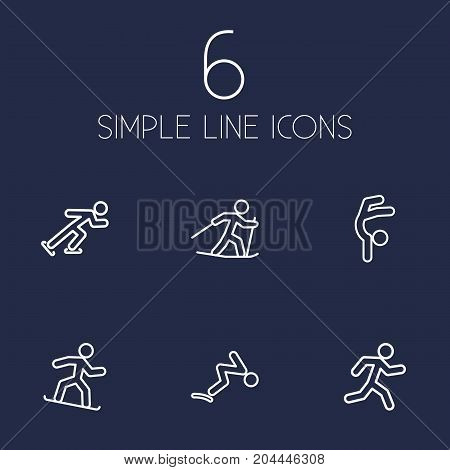 Collection Of Ski Running, Swimming, Ice Skating And Other Elements.  Set Of 6 Sport Outline Icons Set.