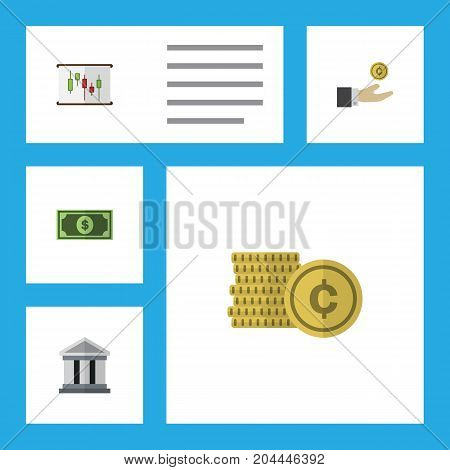 Flat Icon Incoming Set Of Greenback, Cash, Hand With Coin Vector Objects