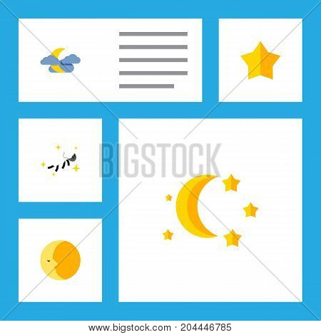 Flat Icon Midnight Set Of Bedtime, Lunar, Midnight And Other Vector Objects